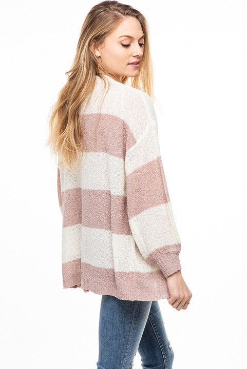 Dreamers Striped Open Lightweight Cardi C7076A-R (more colors)