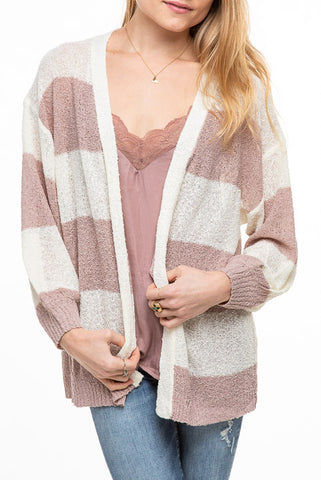 Dreamers Striped Open Lightweight Cardi