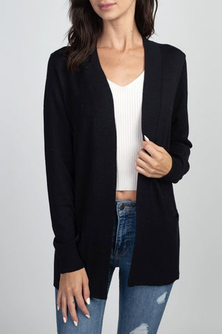 Dreamers Open Cardi With Ribbed Detail CW162705