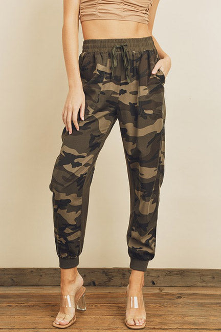 Olive Camo Print Joggers With Side Pockets