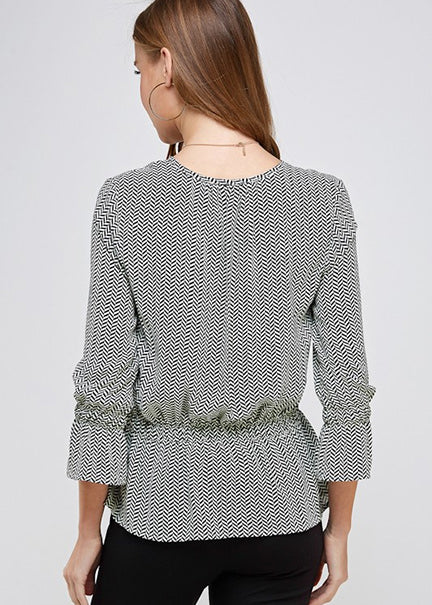 Lillian Herringbone Print Blouse
