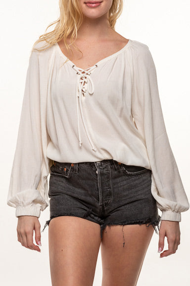 Final Touch Laced Up Blouse T1719a