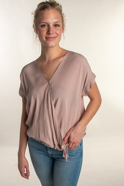 Blaire Washed Slub Woven Surplice Top