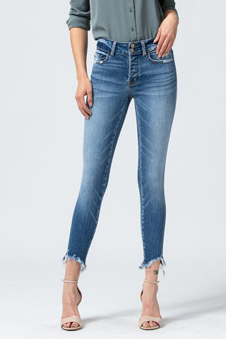 Flying Monkey Mid Rise Uneven Cropped Skinny Y3476