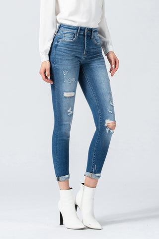 Flying Monkey Mid Rise Rolled Up Cropped Skinny Y3485