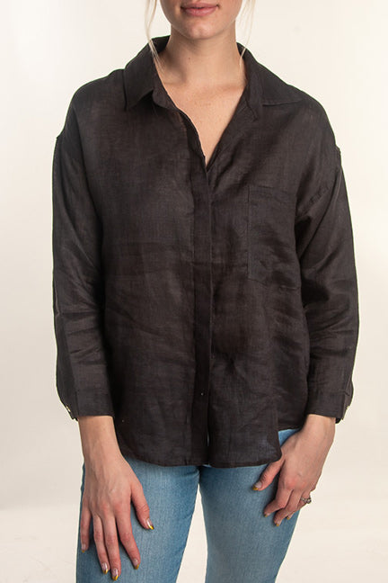 Isadora Linen Button Front Top