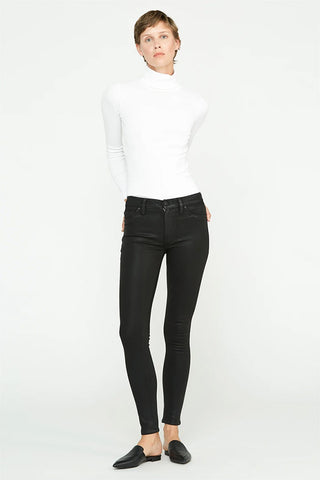 Hudson Barbara Hi Rise Super Skinny Clean Hem Jean in Coated Noir WH407TEN