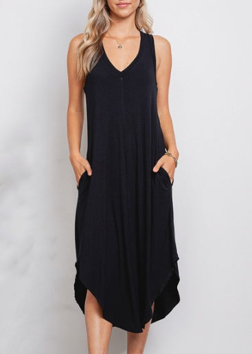 Jolie V-Neck Mid Length Pocket Dress 4716