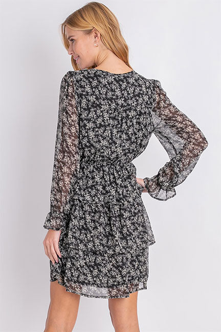 Llove Avery Ruffled Floral Dress LV3489