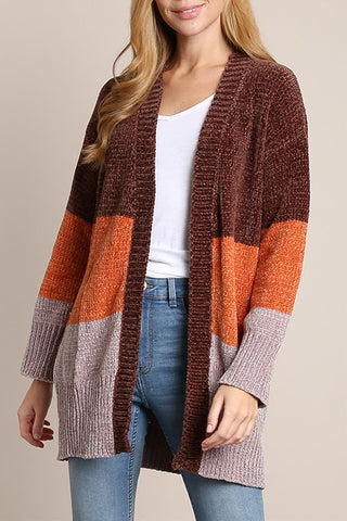 Chunky Knit Colorblock Cardigan