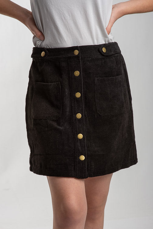 Lily Button Front Cord Skirt
