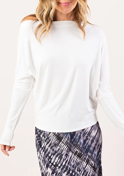Eva Off Shoulder Micro Rib Knit Tee