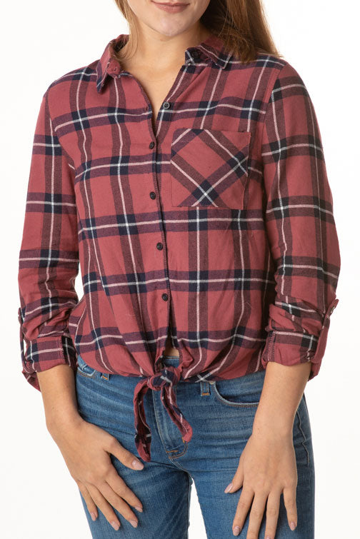 Hayden Plaid Tie Shirt  (more colors)