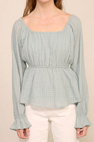 Molly Long Sleeve Textured Babydoll Top NT20231