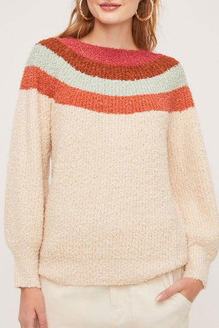 Lisa Multi Color Crew Neck Sweater