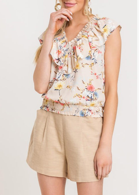 Floral Print Ruffle Smock Top LT14575-CI