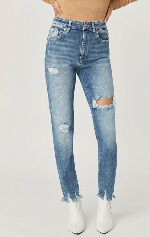 Mavi Jeans Lea Straight Hi Rise Crop Light Ripped Jean In La Vintage 100727-30109