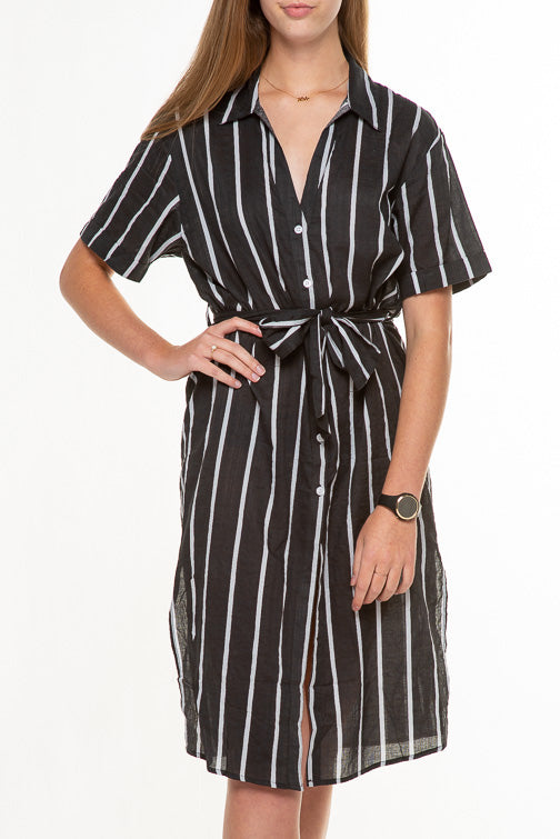 Stripe Half Sleeve Shirt Dress ID7598