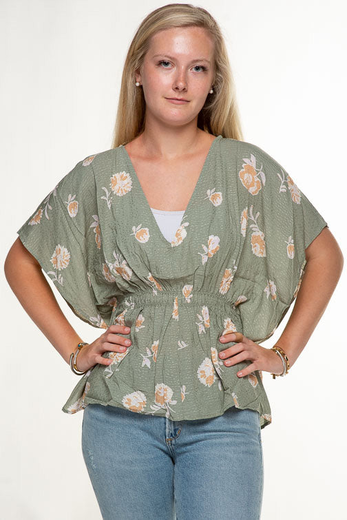 Dropped Sleeve Gathered Waist Top T10495