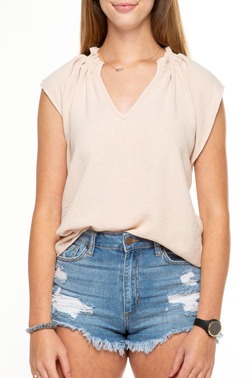 Cap Sleeve V-Neck Short Top T10523A