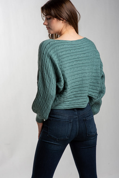 Miracle Horizontal Cable Crop Sweater 6619