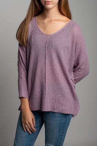 Miracle Avery Cuff Sleeve Vee Neck Sweater