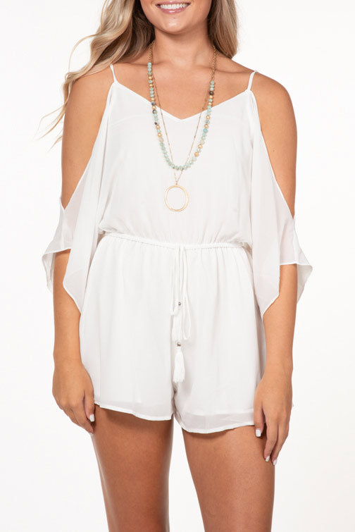 Naked Zebra Cold Shoulder Romper (more colors)