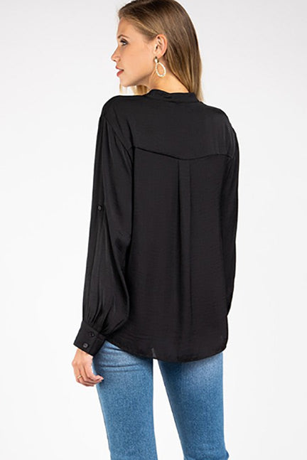 Madison Round Collar V-Neck Blouse