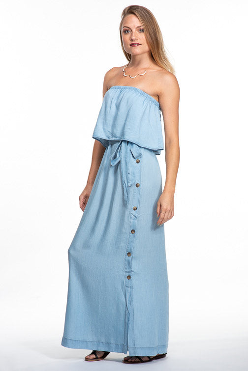 Naked Zebra Denim Dreams Maxi Dress