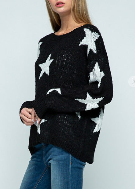 Round Neck Star Sweater 10478