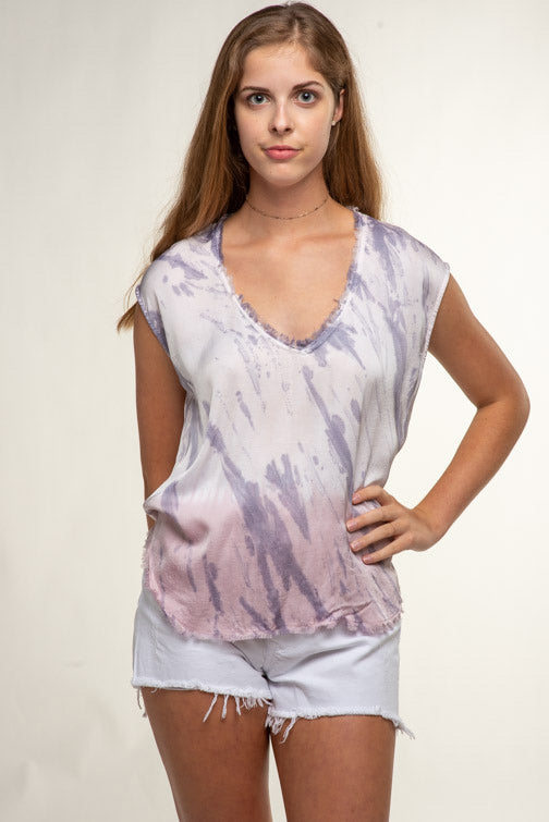 Olivaceous Cap Sleeve Deep Vee Top 22-99LTH