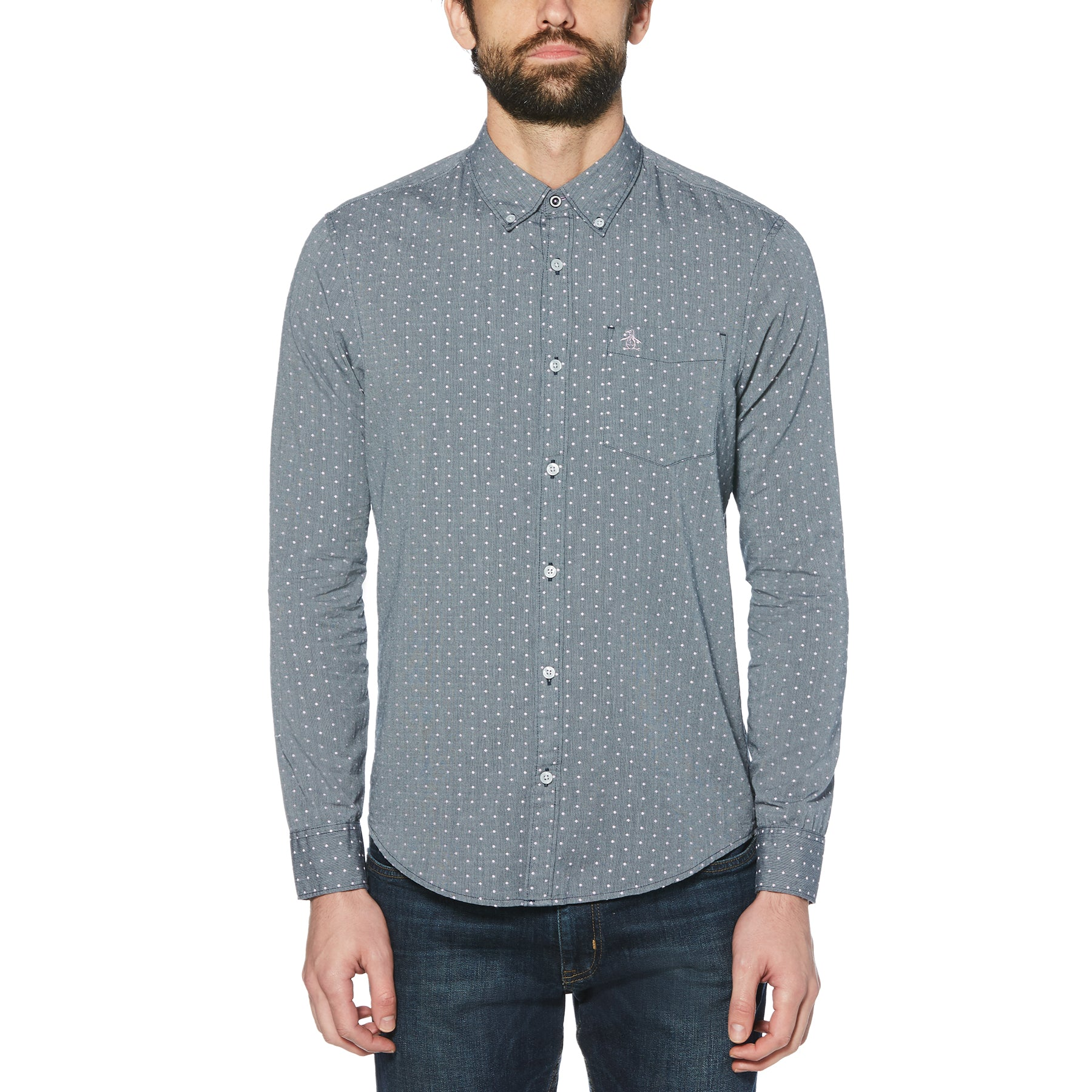 Original Penguin Dobby Print Long Sleeve Shirt OPWF9028
