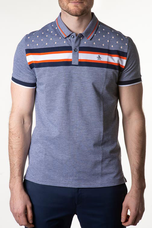 Penguin Golf Geo Oxford Stripe Polo OGK8006
