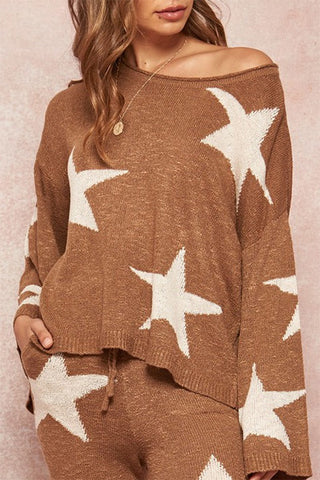 Alexa Star Pattern Loose Fit Wide Sleeve Sweater