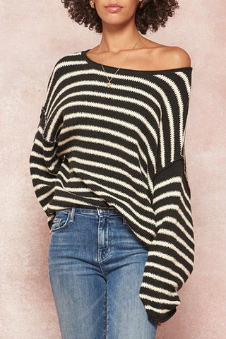 Alana Stripe Textured Knit Oversized Sweater