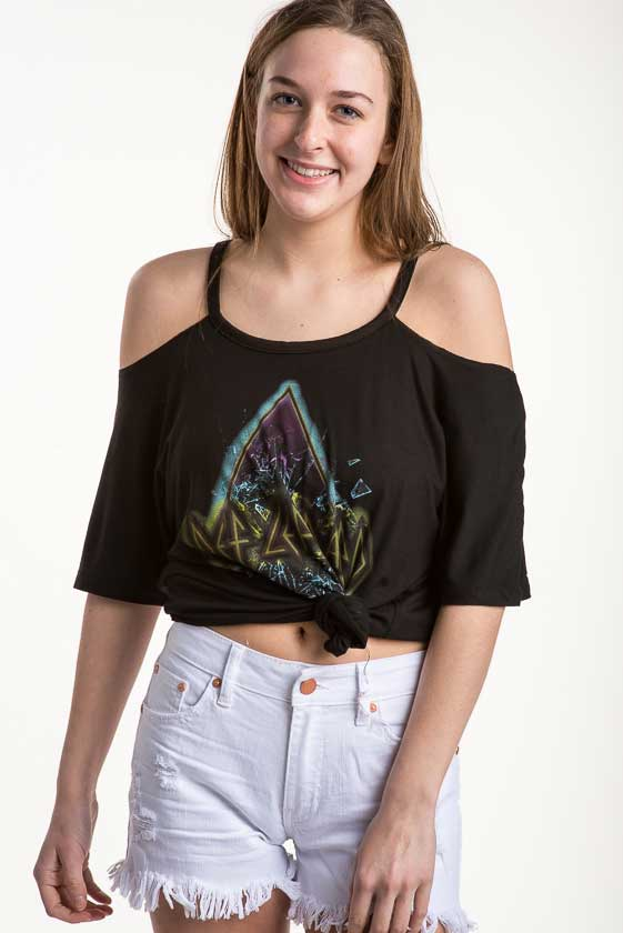 5e168a317dc882 Recycled Karma Def Leopard Cold Shoulder Top - Gil s Clothing ...