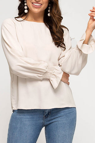 Genevieve Smocked Bubble Sleeve Top