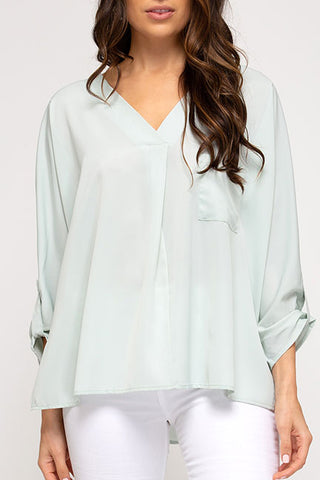 She Sky Pleated Frnt Button Sleeve Top SS6308