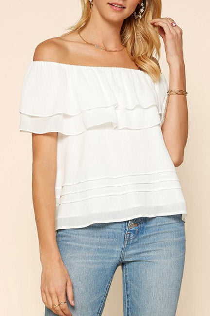 Laura Ruffled Off The Shoulder Crop Top