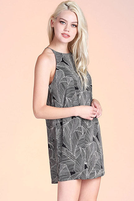 Melanie Fiddle Leaf Print Shift Dress