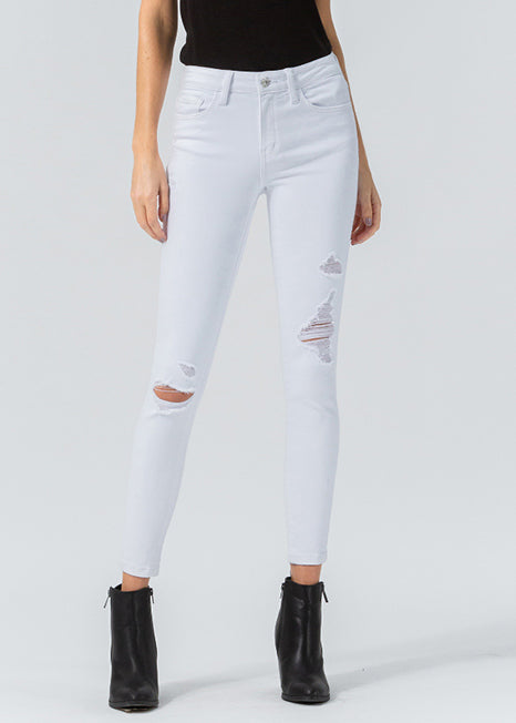Vervet Mid Rise Distressed Skinny VT556-OPWHT