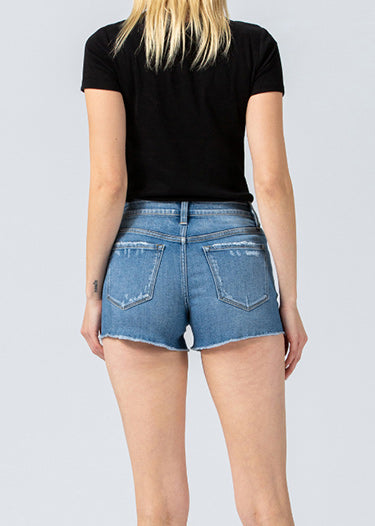 Vervet Mid Rise Raw Hem Denim Shorts VT915-DENIM