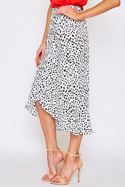 Addison Dot Print Ruffled Wrap Style Skirt
