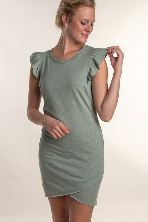 Tina Ruffle Shoulder Tulip Tank Dress