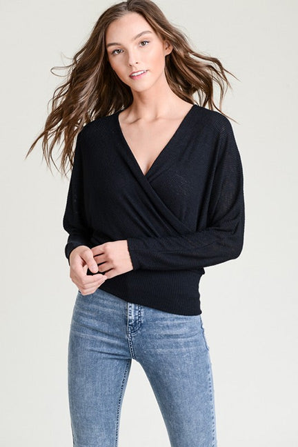 Julia Ribbed Long Sleeve Front Wrap Top