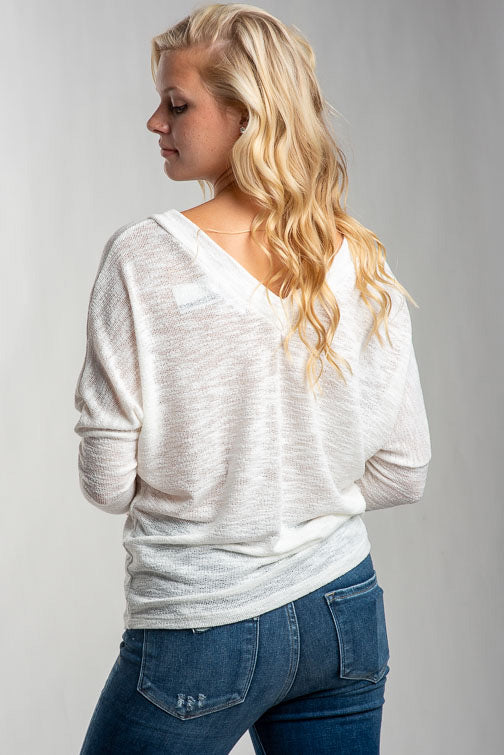Nora Light Guage Double V-Neck Knit Top