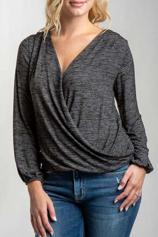 Skylar Surplice Bishop Sleeve Knit Top