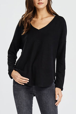Bailey Soft Brushed V Neck L/S Round Hem Top