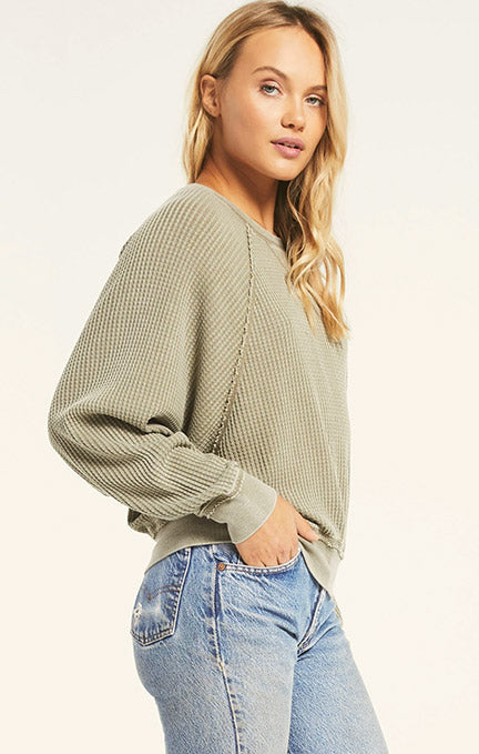 Z Supply Claire Waffle Long Sleeve Top ZT203631