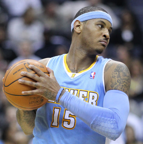 Carmelo Anthony Wearing Light Blue Sweatband